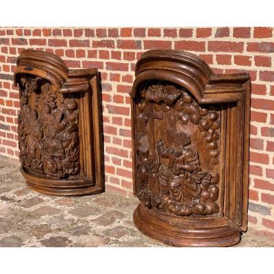 Rare paire de chaire d'église en chêne XVI éme siècle