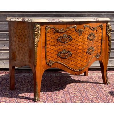 Louis XV Curved Ceremonial Chest Of Drawers In Marquetry
