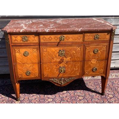 Louis XVI Chest Of Drawers In Stamped Marquetry