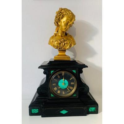 pendule borne en bronze doré marbre  et malachite XIX éme