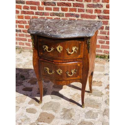 Small Curved Chest Of Drawers In Louis XV Period Marquetry