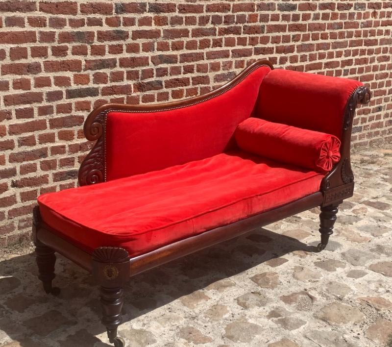 Mahogany Chaise Longue Restoration Circa 1815-photo-3