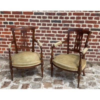paire de fauteuils style directoire