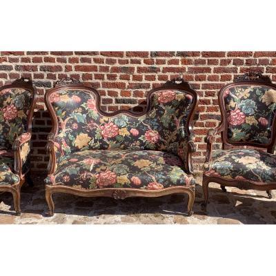 Beau mobilier de salon en acajou d'époque restauration