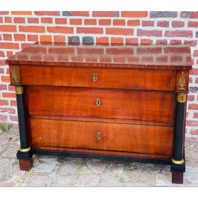 Empire Period Chest Of Drawers In Mahogany Detached Columns