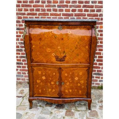 Large Curved Secretary In Louis XV Marquetry, Roussel Model