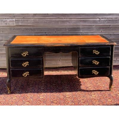Important Desk In Blackened Pear Wood From The Regency Period
