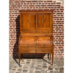 secrétaire, bureau cylindre en marqueterie  d'époque louis XVI
