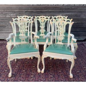 Maison Romeo Set Of Six Chairs And Two Armchairs
