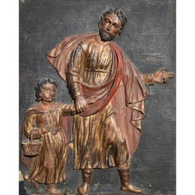 Saint Joseph And The Child Jesus - 17th Century (?) Polychrome Wood Bas-relief Altarpiece Panel