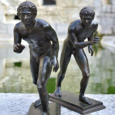 - Bronze Late 19th Grand Tour - The Two Runners After The Antique Villa Papyrus Herculaneum