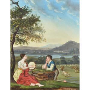Jean Cossard (1764 - 1838) - Neoclassical Gallante Scene - Gouache Louis XVI Directoire Period - 18th Century.