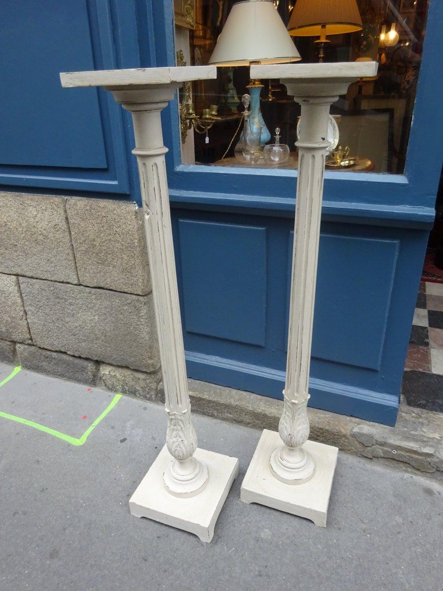 Paire De Sellettes Laquées En Gris époque XIXème