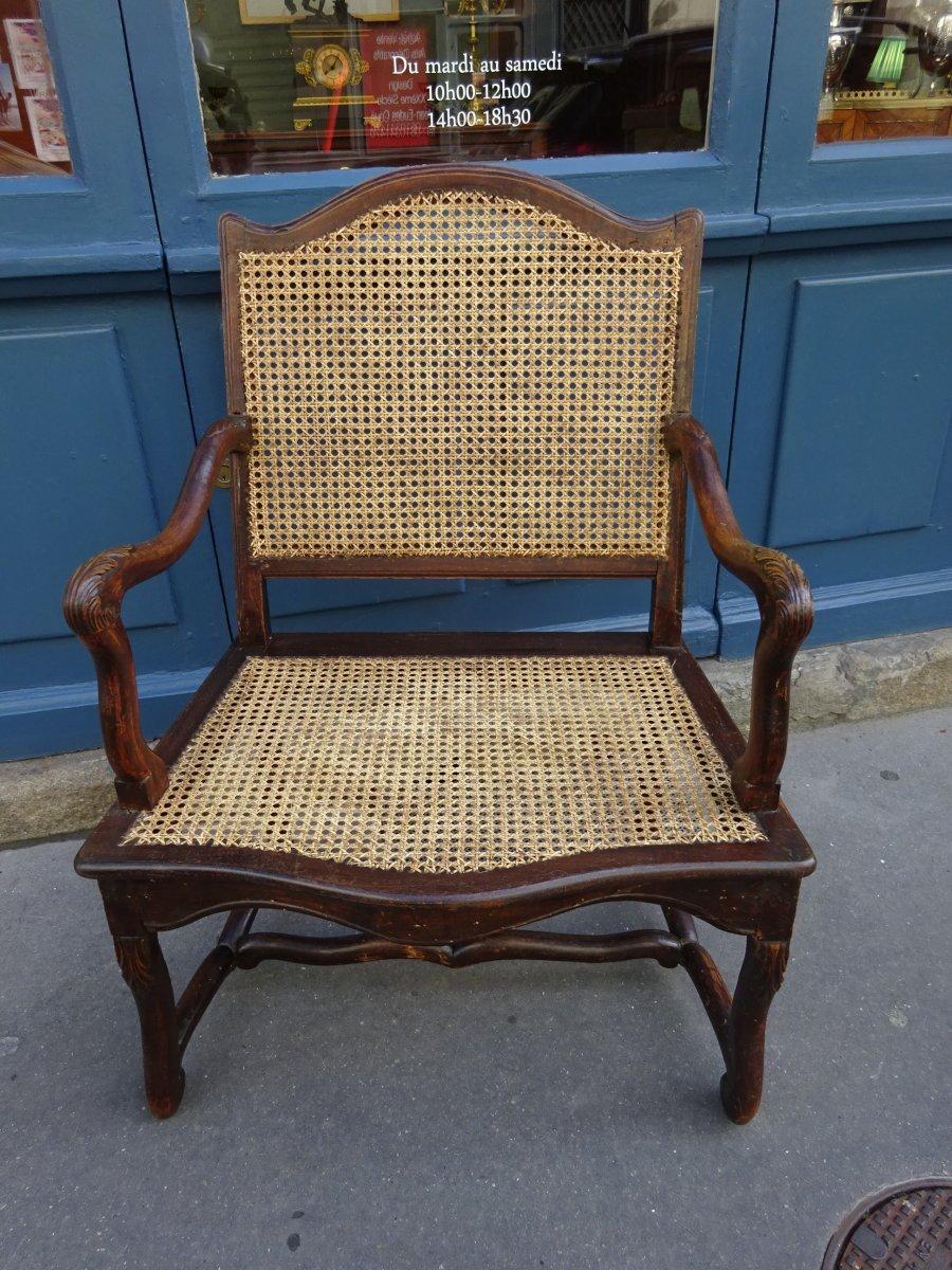 Regency Cane Armchair In Natural Wood