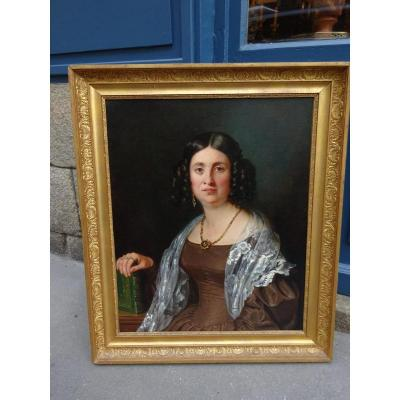 Portrait De Femme époque Louis- Philippe