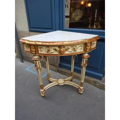 Corner Console In Lacquered Wood And Golden Wood