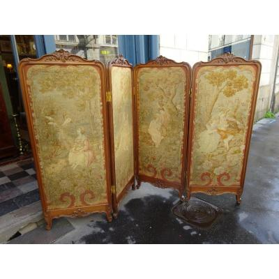 Screen Four Leaves In Mahogany Louis XV Style