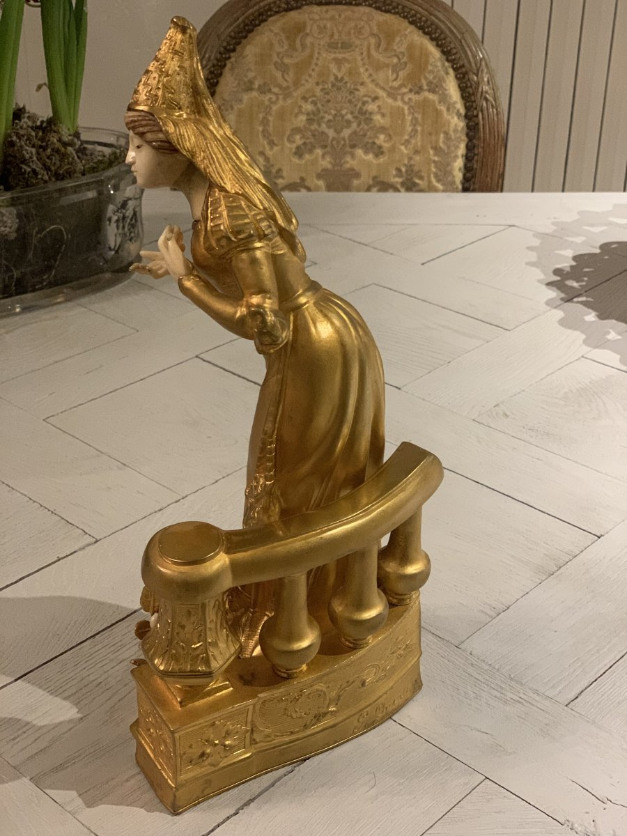 """""""The Courtesan"""" chryselephantine statuette in gilded bronze and ivory by Georges Omerth"""