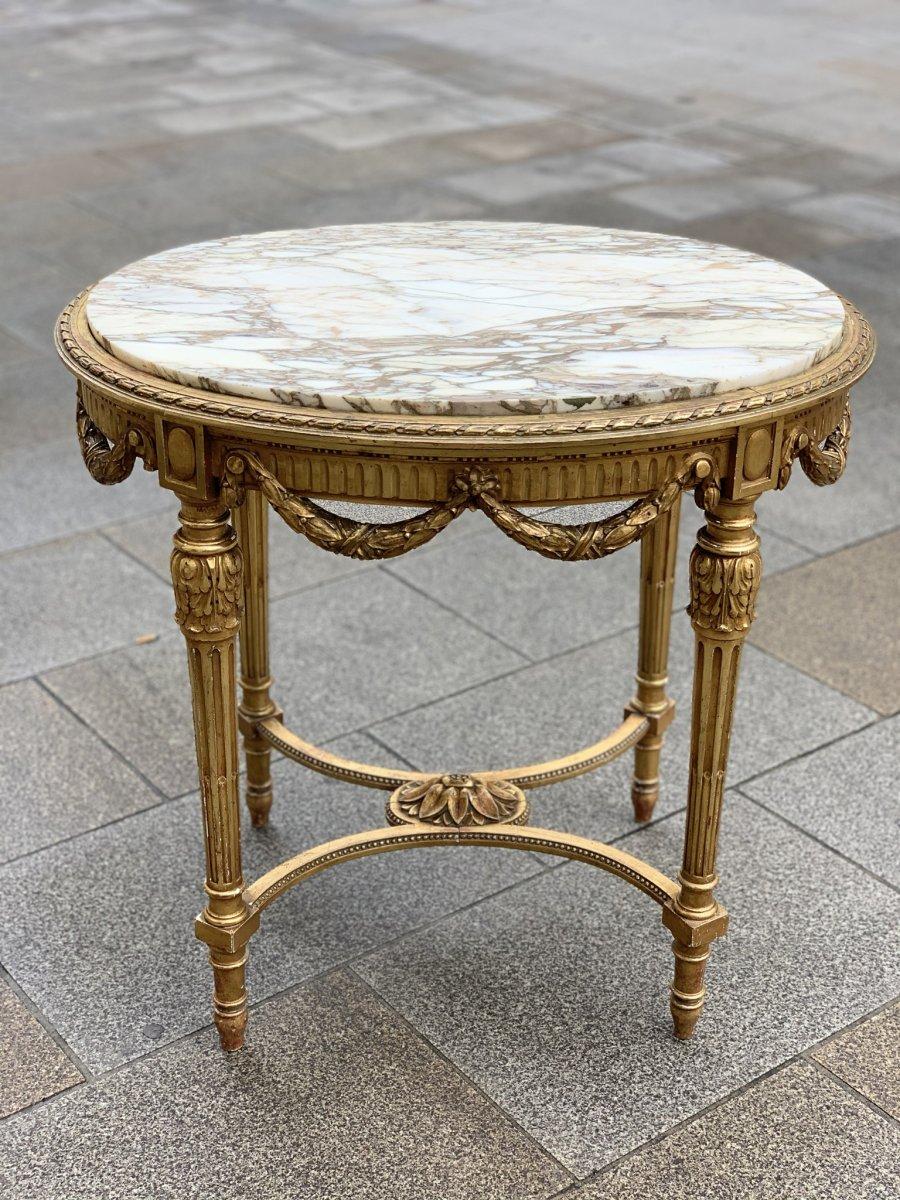 Golden Wood Pedestal Table