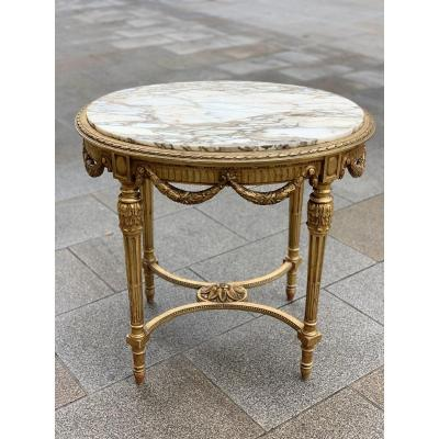 Golden Wood Pedestal Table