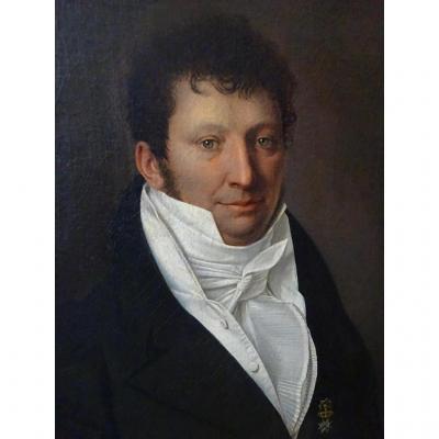 Huile Sur Toile Portrait d'Homme Signé Boccia 1813