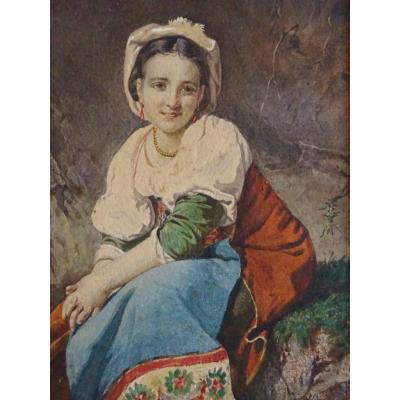 Baldini Giuseppe Portrait De Jeune Femme aquarelle