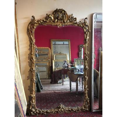 Très Grand Miroir d'époque Louis XV 223 Cm X 140 Cm