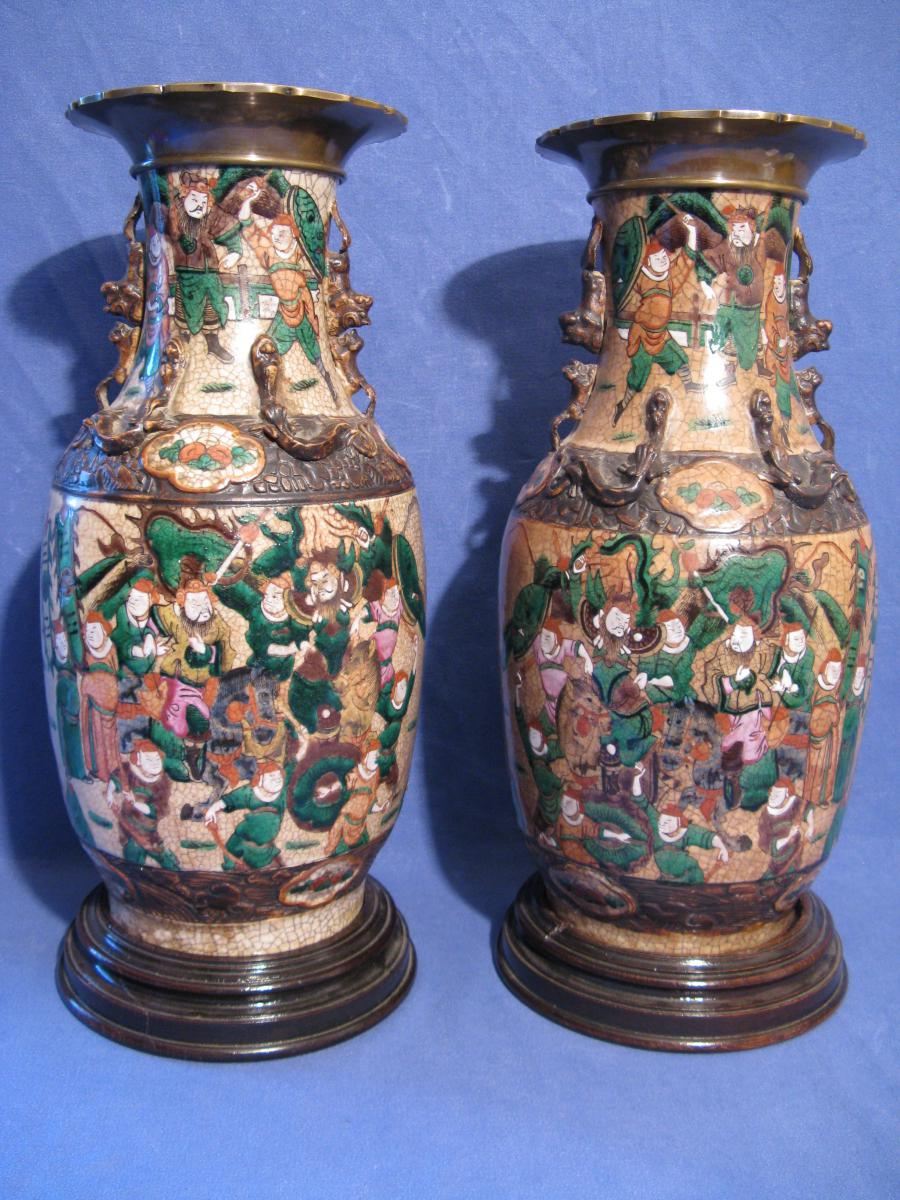 Pair Of Porcelain Vases Veterans Nankin And Bronze End XIX Eme Sign In Underwear