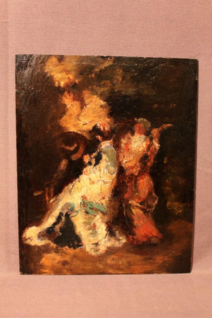 Huile sur carton d'après  Adolphe Monticelli