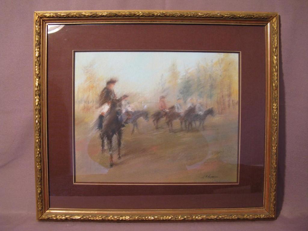 Pastel cavaliers cosaques 20 ème siècle