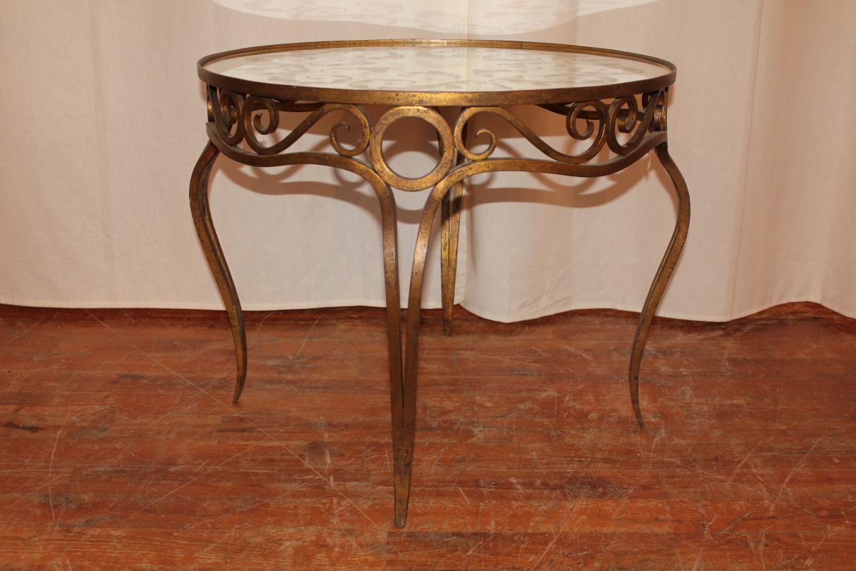 Table de salon en fer forg dor style art d co tables - Table salon fer forge ...