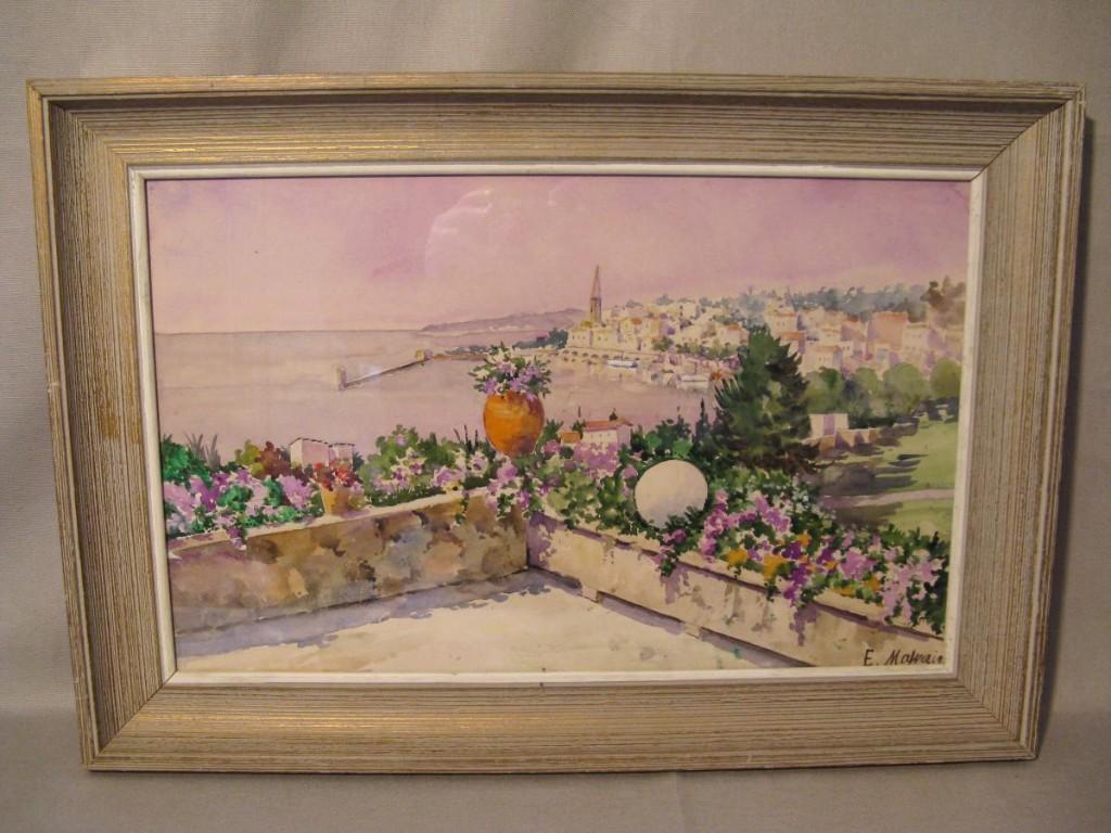 Aquarelle signée E.Malezin : vue de Menton d'une terrasse
