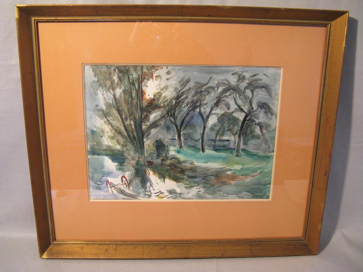 Watercolor Signed Roger Tolmer Twentieth Century