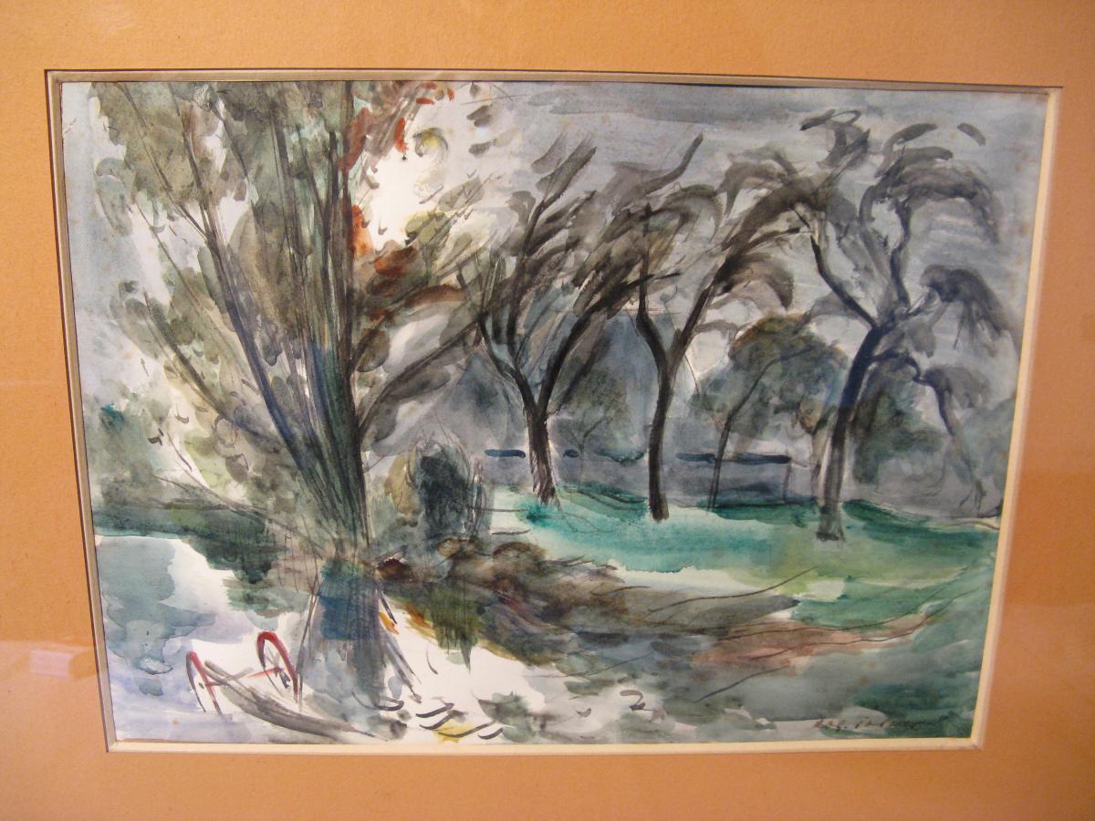 Watercolor Signed Roger Tolmer Twentieth Century-photo-2