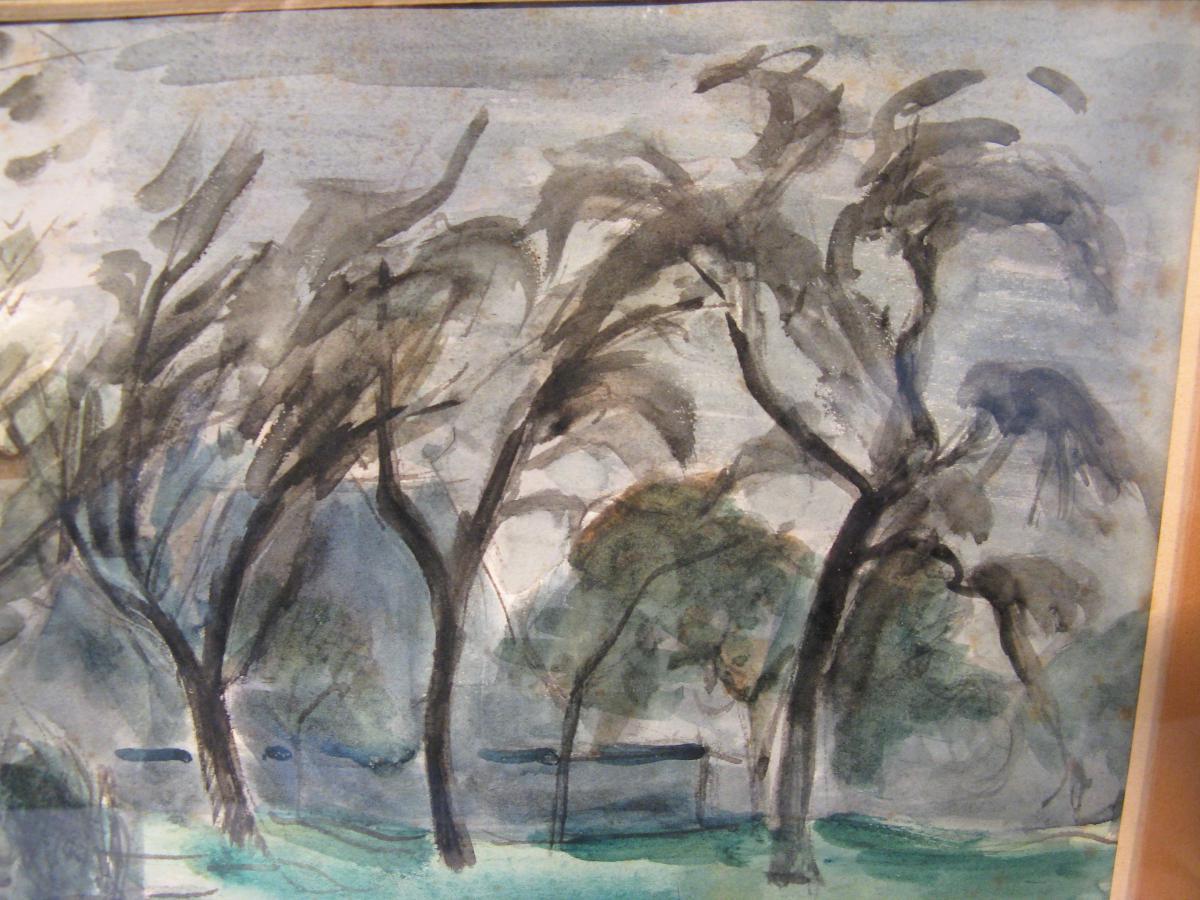 Watercolor Signed Roger Tolmer Twentieth Century-photo-3