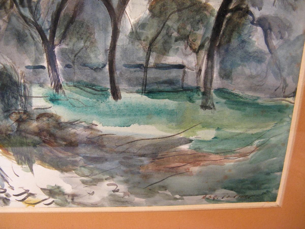 Watercolor Signed Roger Tolmer Twentieth Century-photo-1