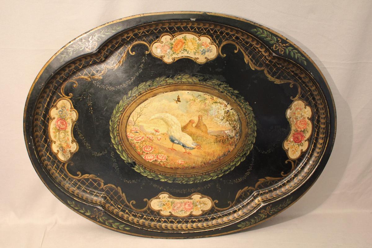 Grand plateau en tôle peinte époque Napoléon III