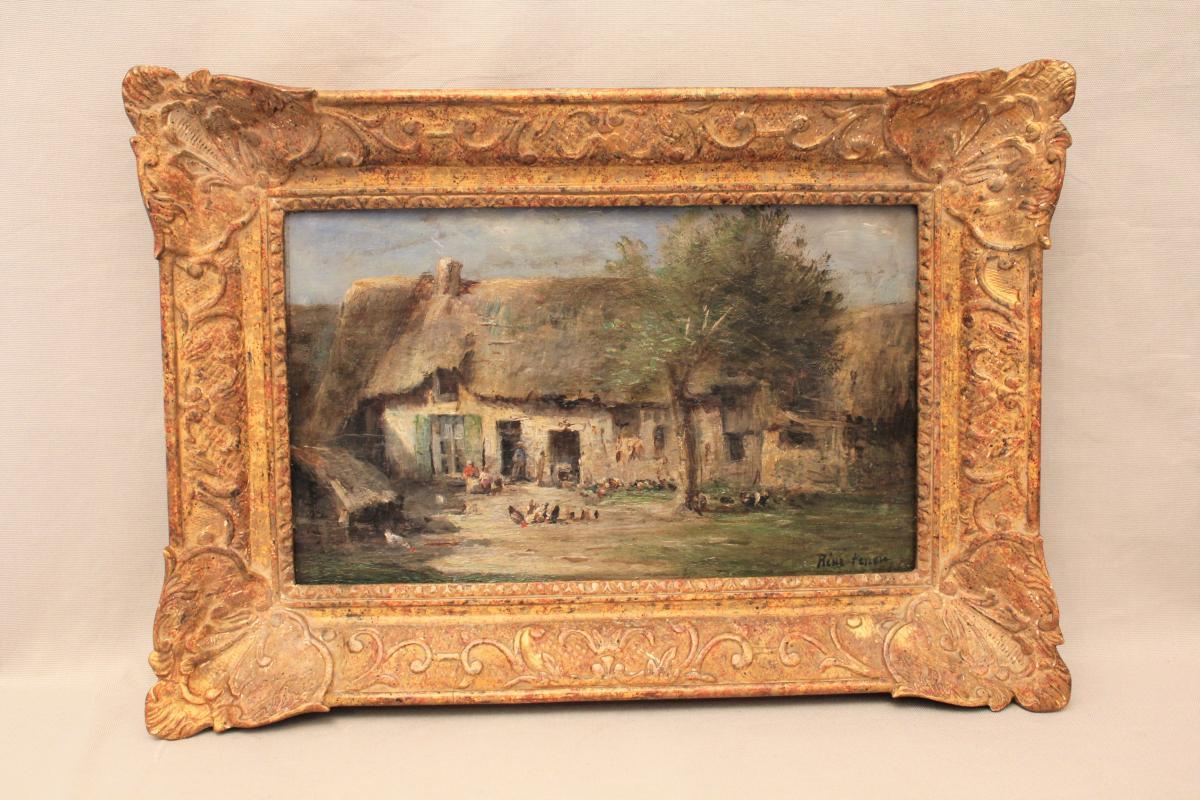 Oil On Panel Signed René Tener Farmyard XIX Century