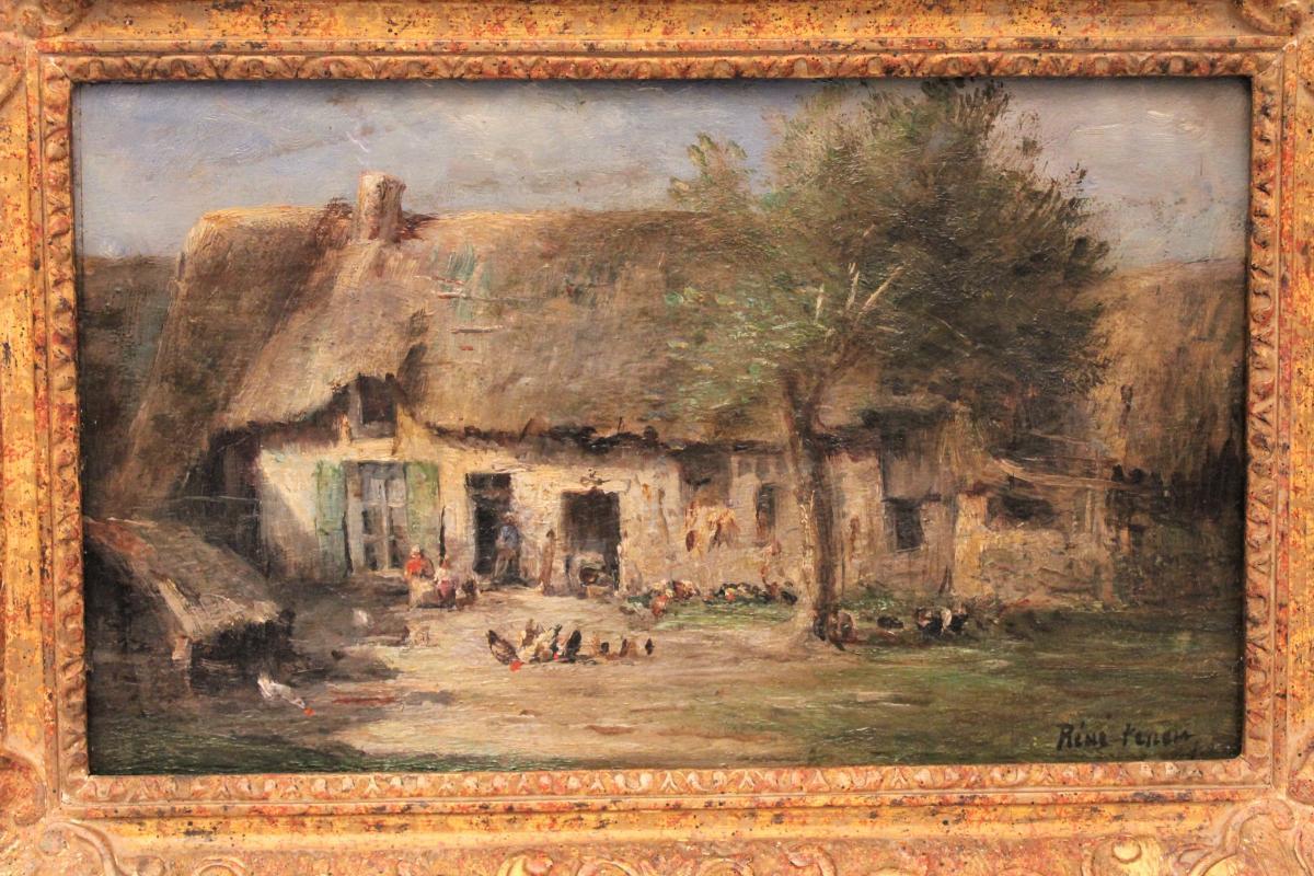 Huile sur panneau signée René Tener cour de ferme XIX siècle-photo-2