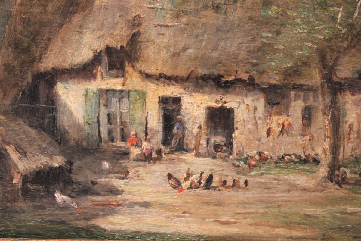 Huile sur panneau signée René Tener cour de ferme XIX siècle-photo-3