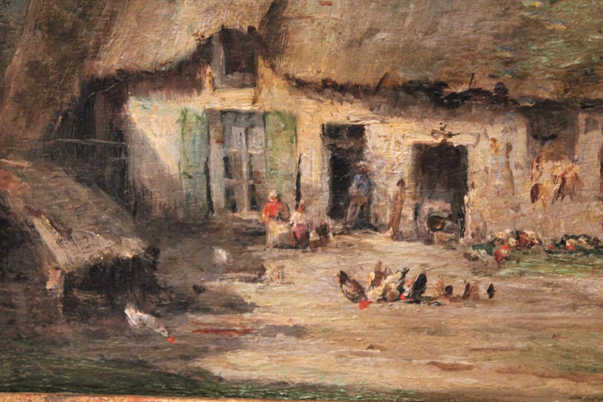 Huile sur panneau signée René Tener cour de ferme XIX siècle-photo-4