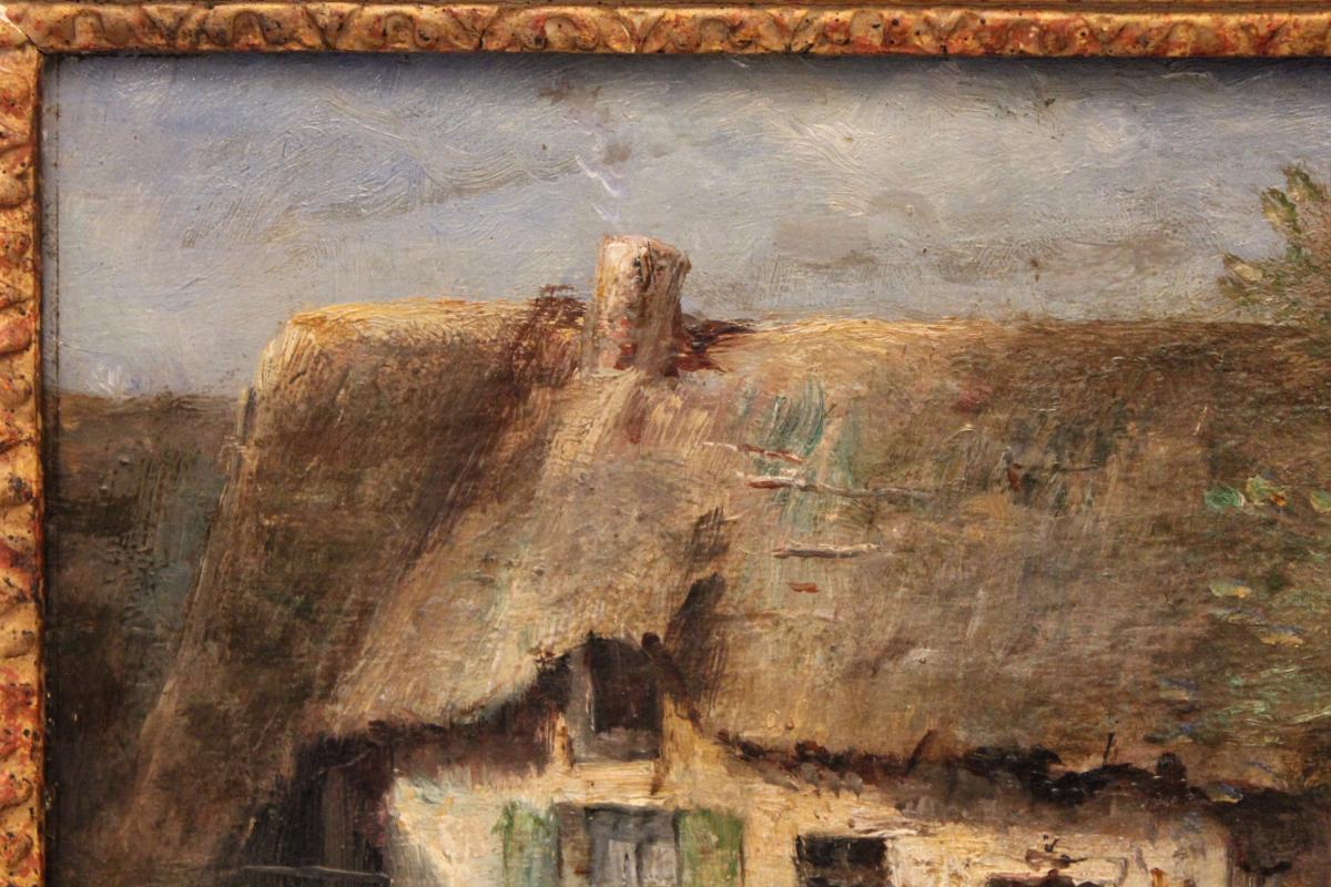 Huile sur panneau signée René Tener cour de ferme XIX siècle-photo-1