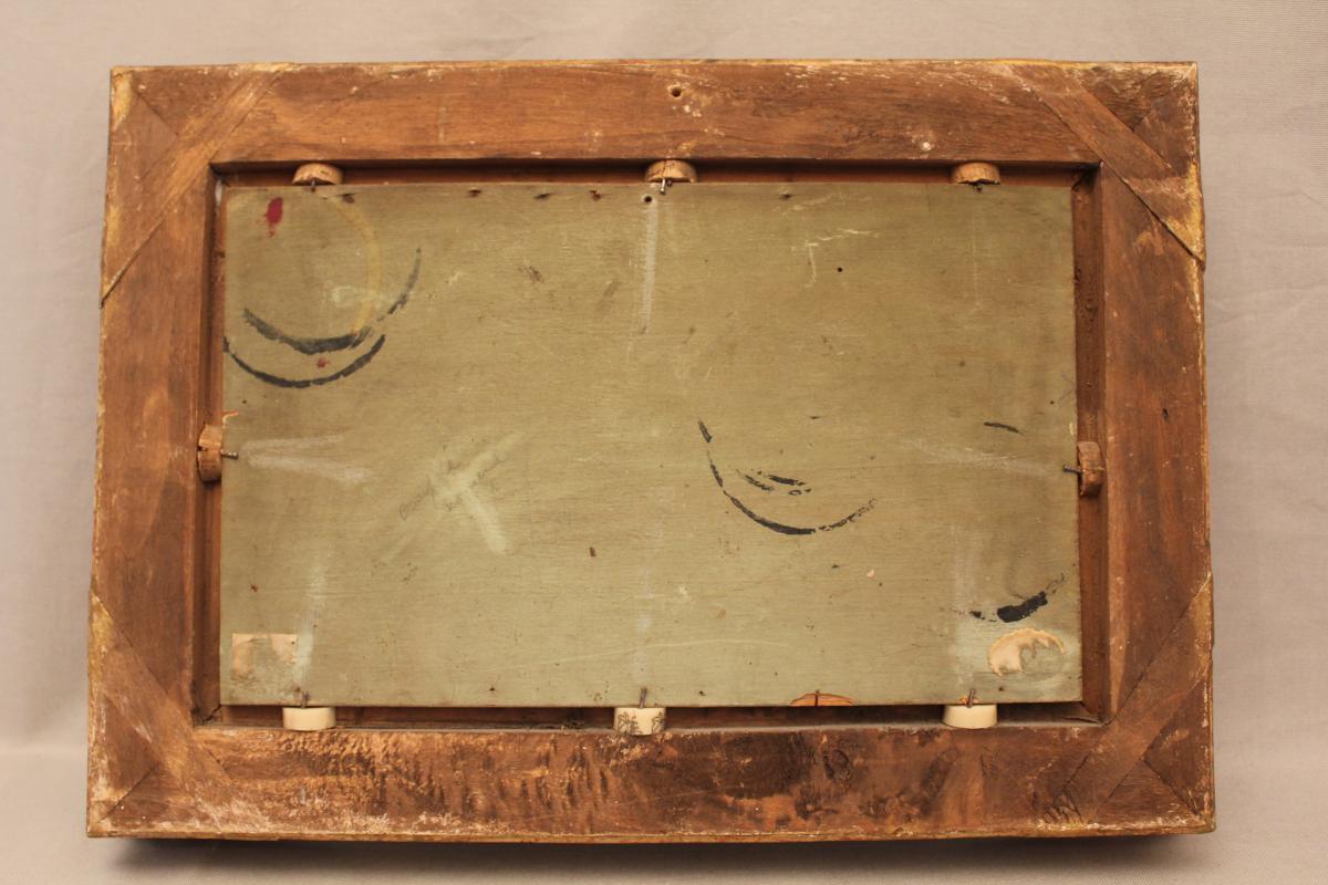 Huile sur panneau signée René Tener cour de ferme XIX siècle-photo-6