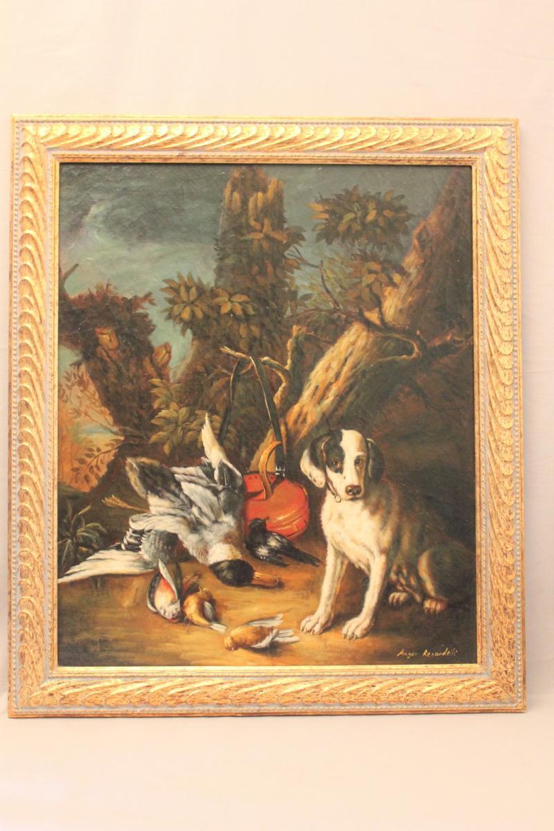 Huile sur toile signée Renardelli scène de chasse XIX siècle