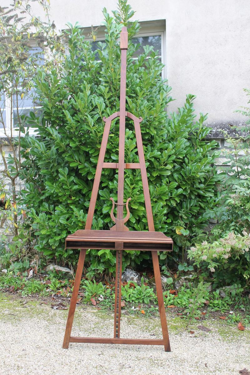 Large Easel With Lyre In Walnut Restoration Period