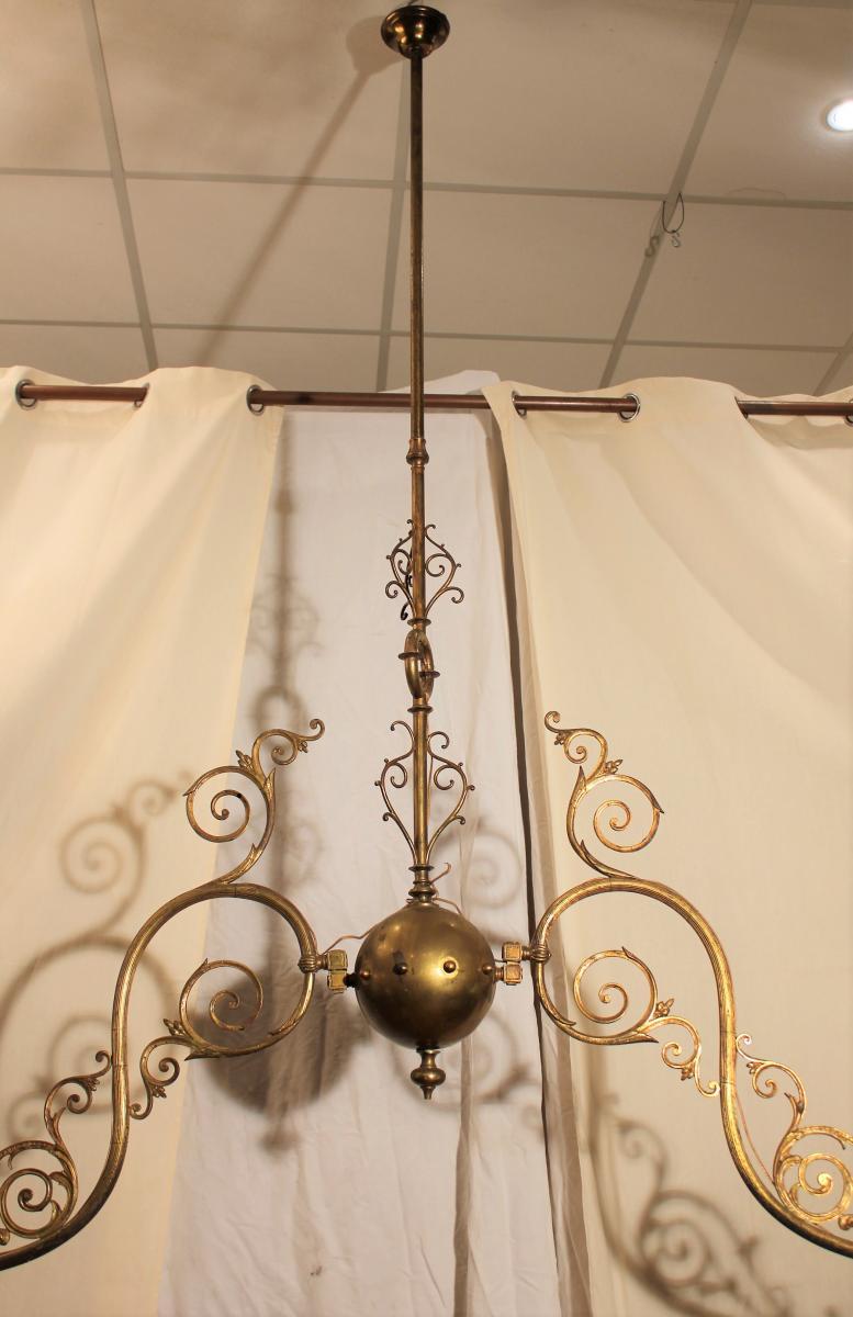 Grand lustre de billard à deux opalines XIX-photo-2