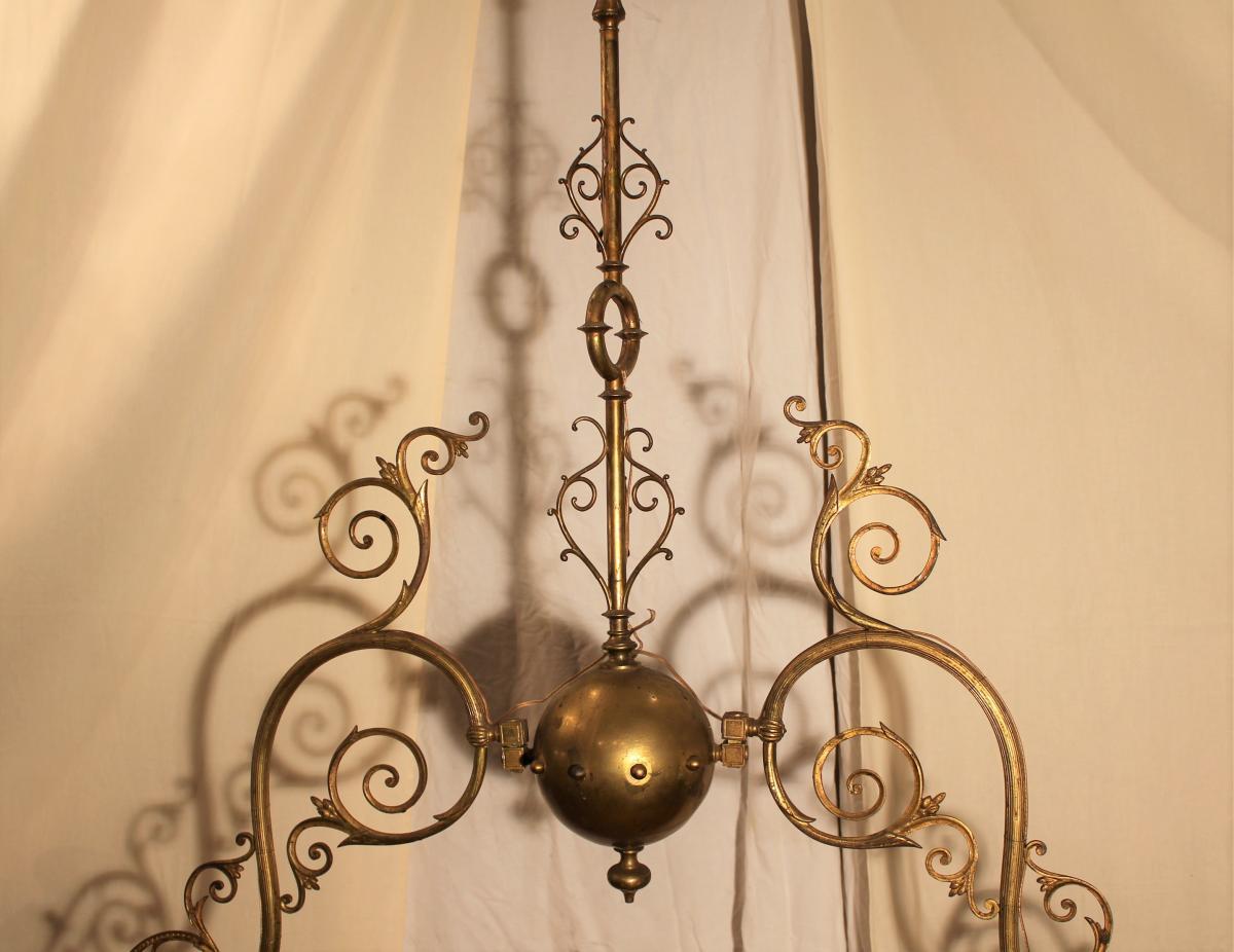 Grand lustre de billard à deux opalines XIX-photo-3