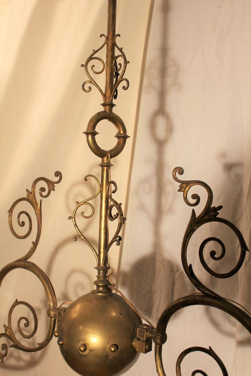 Grand lustre de billard à deux opalines XIX-photo-4