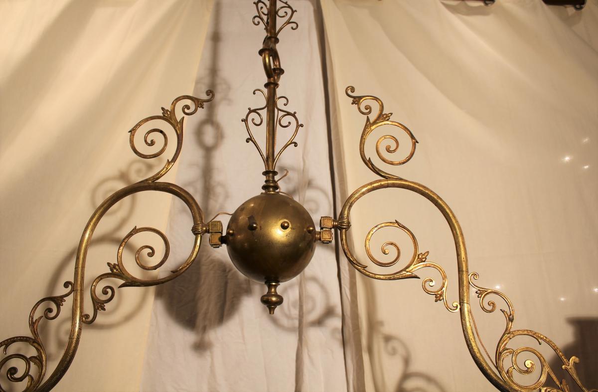 Grand lustre de billard à deux opalines XIX-photo-1