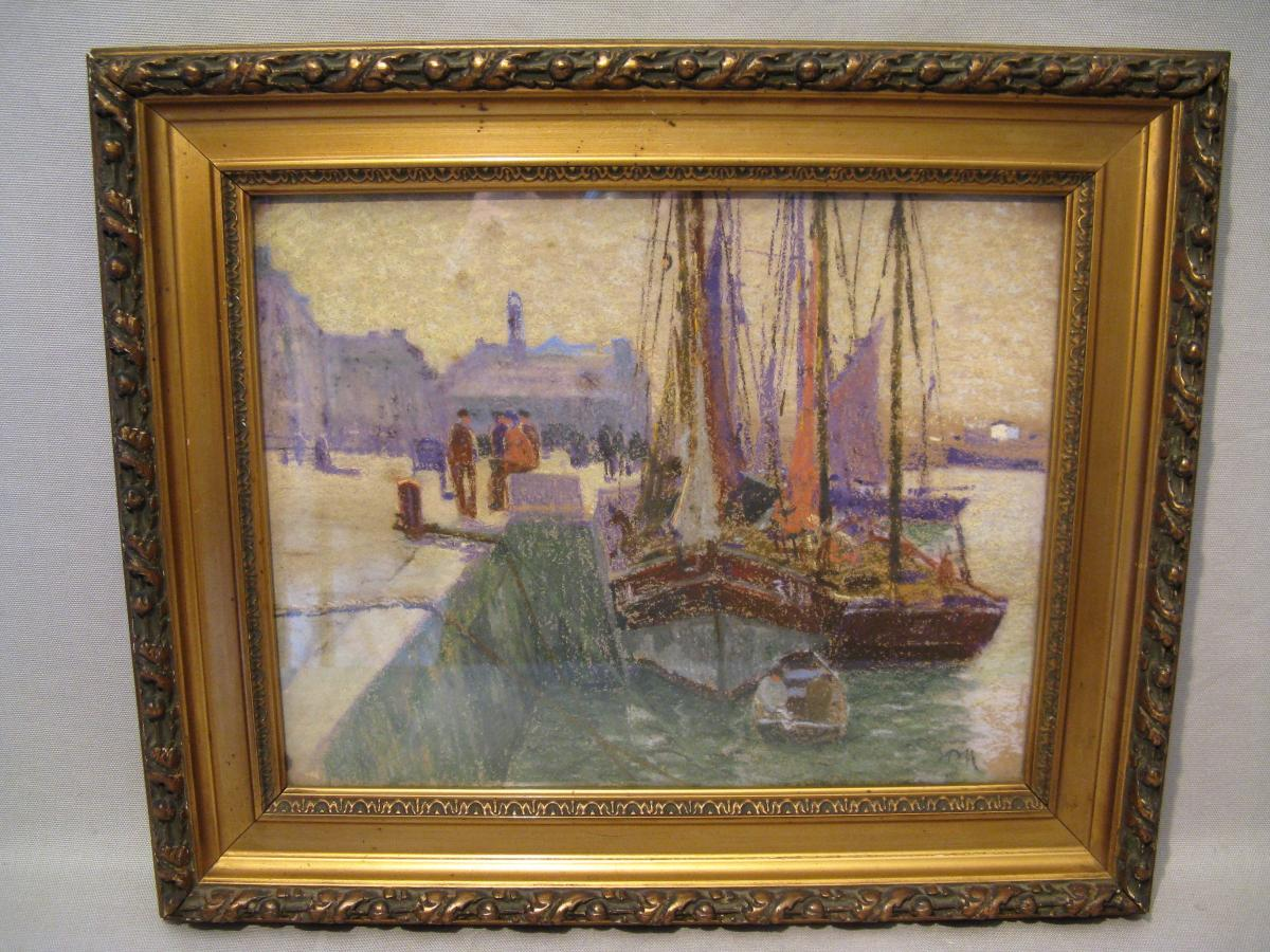 Pastel marine époque début XX ème siècle